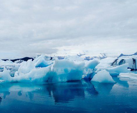 In der Gletscherlagune schwimmen Dutzende Eisberge