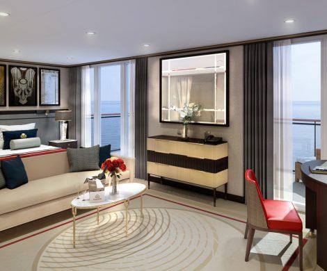 Die Cunardfarben setzen Akzente in den Queens Grill Suiten