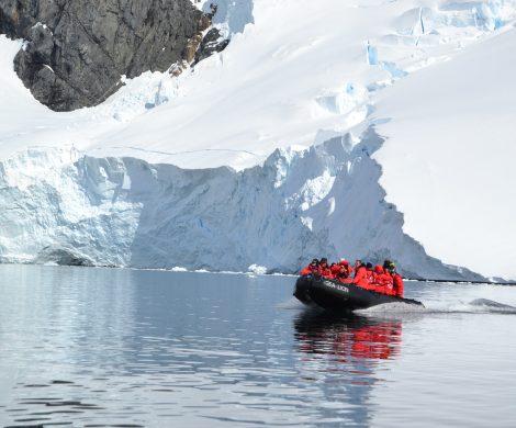 Mit Zodiacs geht es in kleinen Gruppen auf Exkursionen an Land und auf See