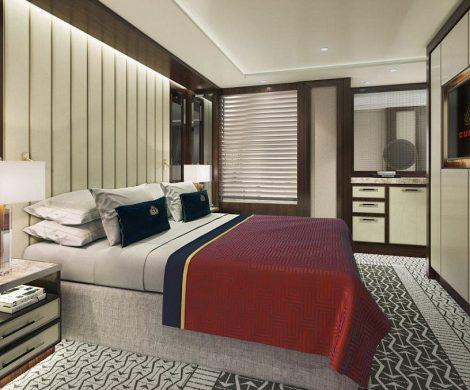 Die Cunard Farben rot, gold und schwarz werden beim Innendesign immer wieder aufgenommen