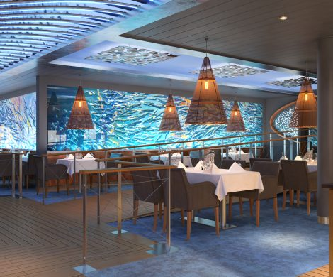 "Im Fischrestaurant ""Ocean's"" sollen digitale Fischschwärme an den Gästen vorbeiziehen"