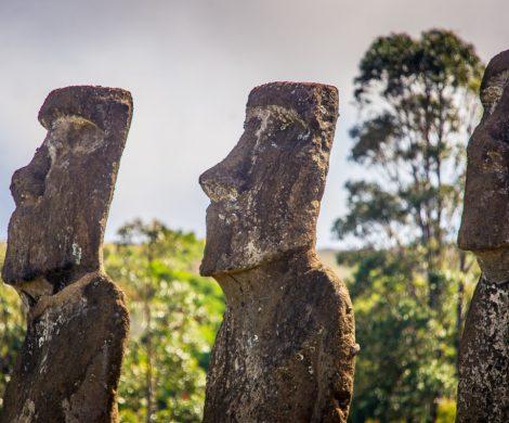 Die Moai stellen verstorbene Häuptlinge oder Götter dar