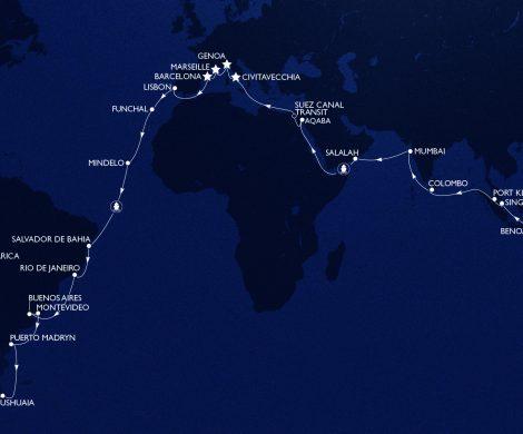 Die zweite MSC Weltreise im Jahr 2020 bietet eine neue Route, mit mehr als 40 Zielen in 23 Ländern an Bord der MSC Magnifica.