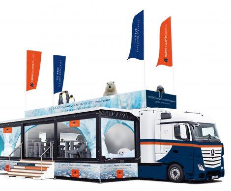 Hapag Lloyd Cruises hat für Messen und eine Roadshow im nächsten Jahr einen eigens ausgebauten und gebrandeten Spezialtruck als mobiles Eventcenter gechartert.