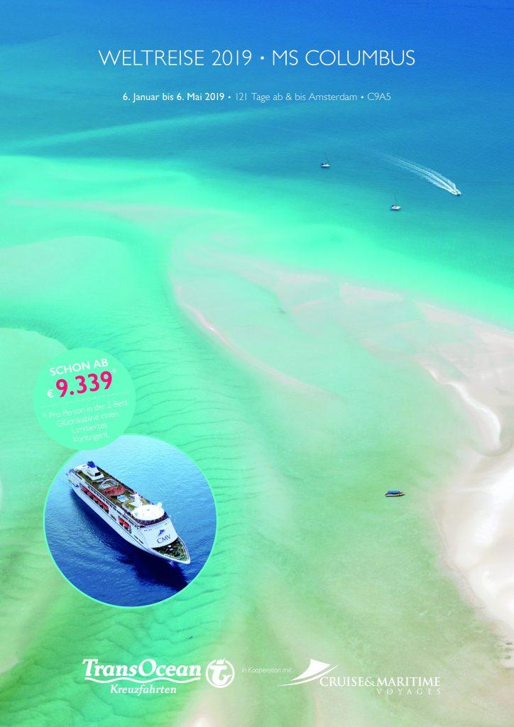 Für das Jahr 2019 hat TransOcean Kreuzfahrten wieder eine große Weltreise mit der MS Columbus im Programm. Am 6. Januar 2019 bricht das Schiff in Amsterdam zu einer 121-tägigen Tour mit Highlights auf allen Kontinenten auf. Für die Weltreise hat TransOcean einen eigenen, 16-seitigen Katalog aufgelegt.