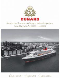 Der Cunard-Katalog für die nächste Saison ist da. Ab sofort ist das neue Programm der britischen Traditionsreederei für den Zeitraum von November 2019 bis Juni 2020 im Reisebüro sowie über die Cunard Reservierung buchbar.