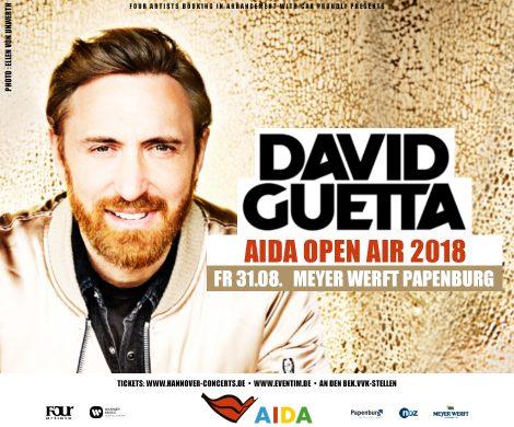 Novum auf der Meyer-Werft anlässlich der Aidanova-Taufe: Noch vor der ersten Reise von AIDAnova Richtung Nordsee, lädt AIDA Cruises am 31. August 2018 zu einem der größten Events des Nordens nach Papenburg ein. Denn neben der Taufshow wird es ein Livekonzert des französischen Star-DJs David Guetta geben.