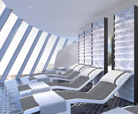 """Celebrity Cruises präsentiert das Spa auf der Celebrity Edge. """"The Spa"""" wurde von der Designerin Kelly Hoppen gestaltet, die sich dabei von der Natur inspirieren ließ. In Zusammenarbeit mit branchenführenden Partnern wird auf mehr als 2.043 Quadratmetern eine große Auswahl an Behandlungen angeboten."""