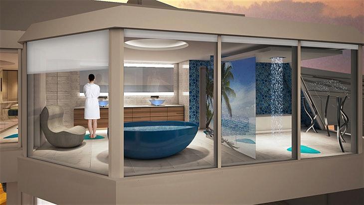Das Badezimmer mit Whirlpool