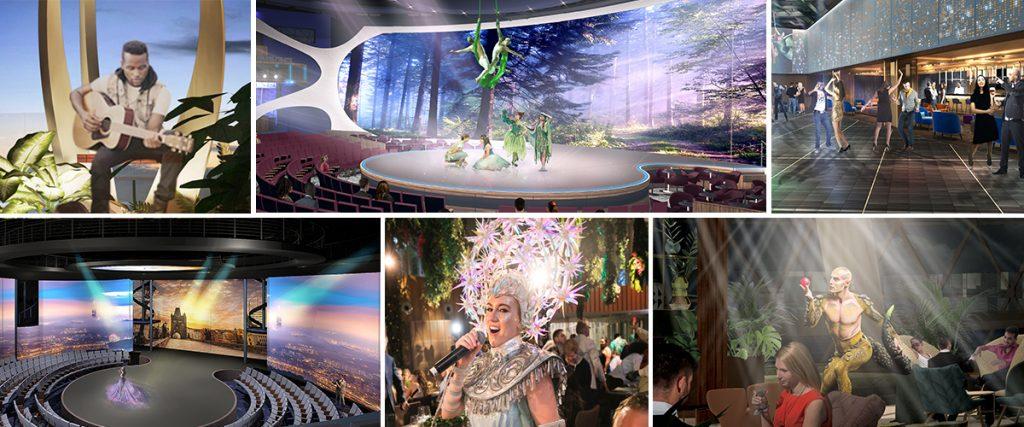 Die Celebrity Edge etzt mit dem technisch weiterentwickelten Haupttheater einen neuen Branchenmaßstab für Unterhaltungstechnik.