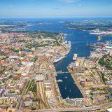 Höhepunkt der Kreuzfahrtsaison in Kiel. Am Sonnabend, 11. August, sind Ostseefähren der Color Line, Stena Line, DFDS und fünf Kreuzfahrtschiffe im Hafen.