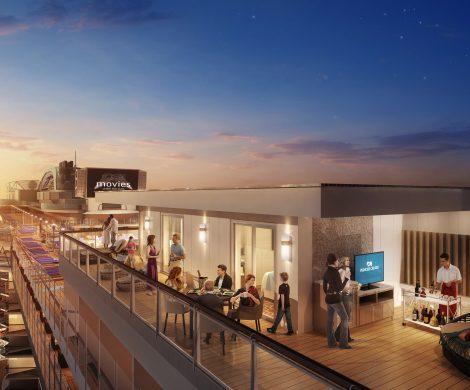 Auf der Sky Princess, dem neuen Schiff von Princess Cruises, entstehen die größten Terrassen auf See. Die sind in den Skysuiten 65 Quadratmeter groß