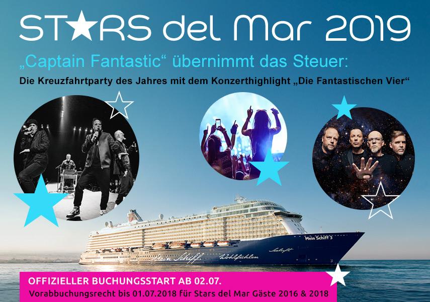Bei Stars del Mar vom 29. September bis 3. Oktober 2019 auf der Mein Schiff 3 sind Die Fantastischen 4 , Johannes Oerding, Fools Garden Top Acts