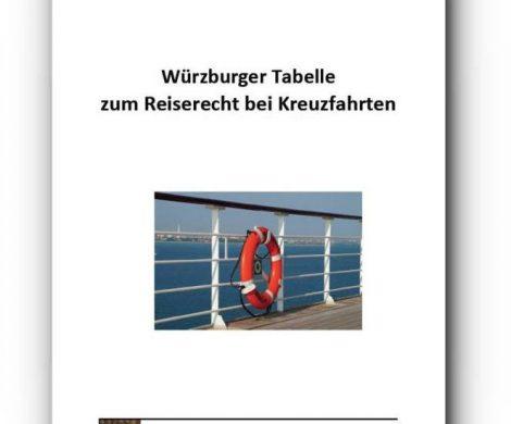 In derWürzburger Tabelle zum Reiserecht bei Kreuzfahrten sind knapp 800 Urteile zu typischen Streitfällen bei Kreuzfahrten zusammengestellt.