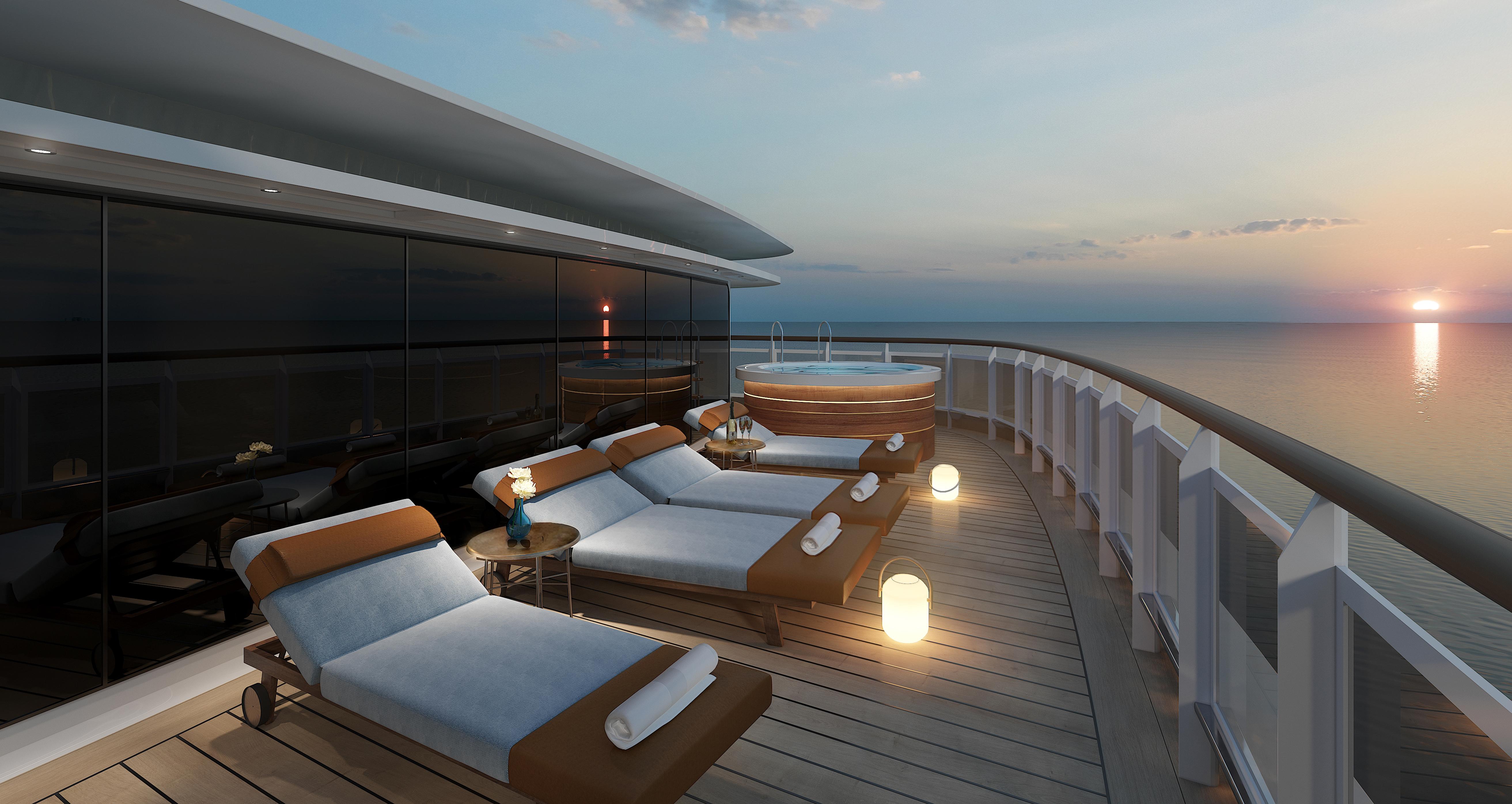 Eine der luxuriösesten Suiten der sieben Weltmeere wird sich auf Deck 14 der Seven Seas Splendor befinden, über der Brücke, mit 413 m²