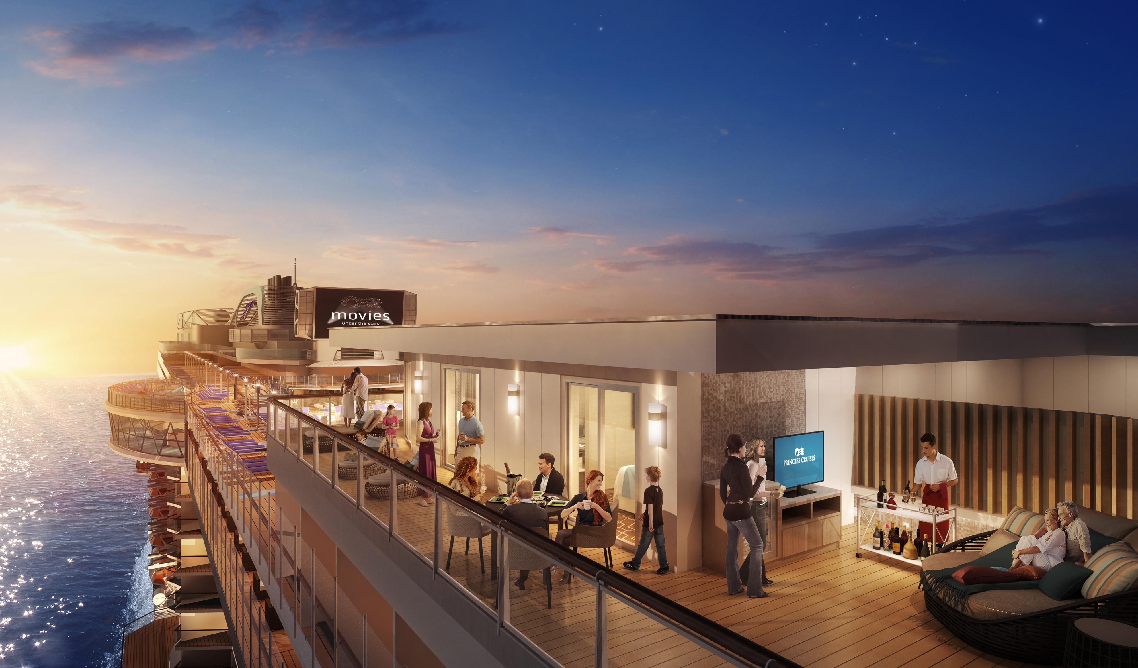 Den größten Balkon auf See baut Princess Cruises an Bord der neuen Sky Princess, die im Oktober 2019 auf den Markt kommt.