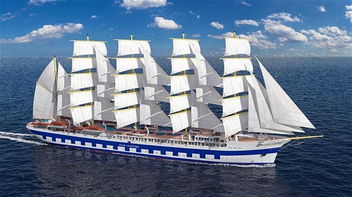 Die Flying Clipper im Frühsommer 2019 in Dienst gestellt. Das dann größte Fünf-Mast-Vollschiff wird seine Premierensaison wohl im Mittelmeer verbringen