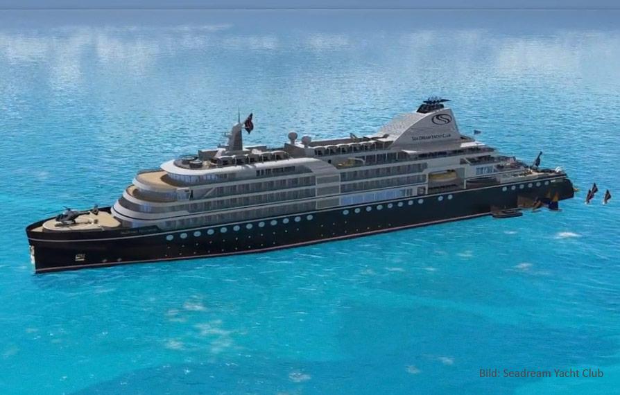 Sea Dream Yacht Club bekommt im September 2021 ein drittes Schiff, die Megayacht SeaDream Innovation mit einem Helikopter und Wasserflugzeug