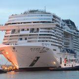 Die MSC Meraviglia läuft erstmals in Kiel ein und macht am Sonnabend, 27. April, im Ostuferhafen fest.Im Sommer 2020 ist das Schiff wieder in Kiel