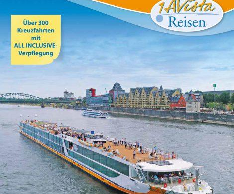 """1AVista Reisen präsentiert im neuen Katalog """"Flussreisen 2020 & Küstenkreuzfahrten"""" neue Routen den Schiffsneubau VistaSky und Neuzugang MS VistaSerenity"""