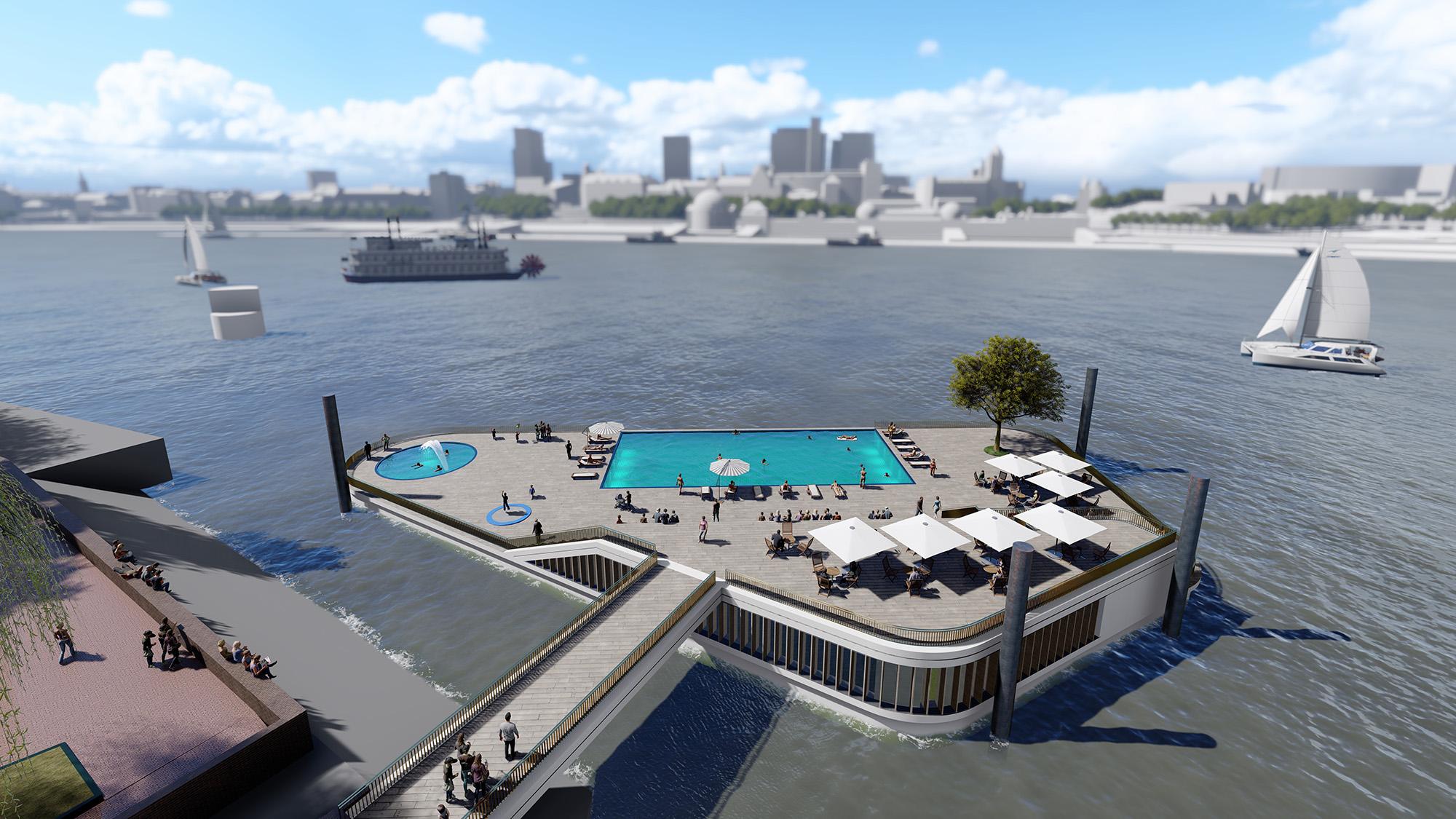 In der Hansestadt soll ein Badeponton in der Elbe entstehen. Das Architektenbüro RBA Reimer Breuer hat einen Badeponton entworfen, der am Südufer der Norderelbe schwimmen soll. Standort soll der Bornsteinplatz in Steinwerder werden, nahe des Ausgangs des Alten Elbtunnels