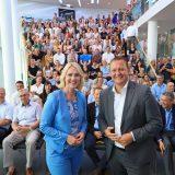 Manuela Schwesig, Ministerpräsidentin des Landes Mecklenburg-Vorpommern, besuchte die Mitarbeiter von AIDA Cruises in Rostock.