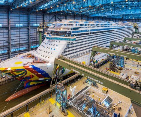 Am Sonnabend, 17. August, soll die Norwegian Encore um 8.00 Uhr das Baudock II der MEYER WERFT verlassen und um 11 Uhr an der Ausrüstungspier anlegen