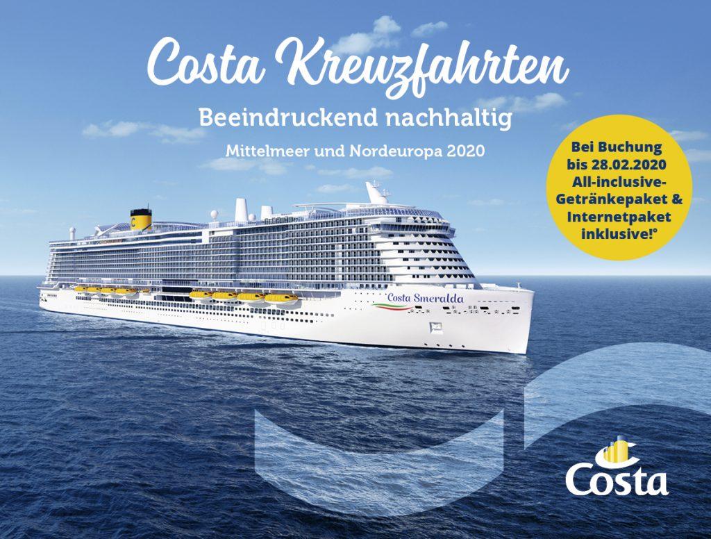 """Costa Kreuzfahrten bietet bis zum 28. Februar 2020 bei Nordland und Mittelmeer das Getränkepaket """"Più Gusto"""" sowie ein Internetpaket mit 250 MB inklusive."""