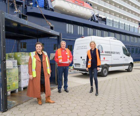 Erstmals durfte TUI Cruises Lebensmittel, mit einem kurzen Mindesthaltbarkeitsdatum an die Tafel Hamburg spenden., was zuvor verboten war