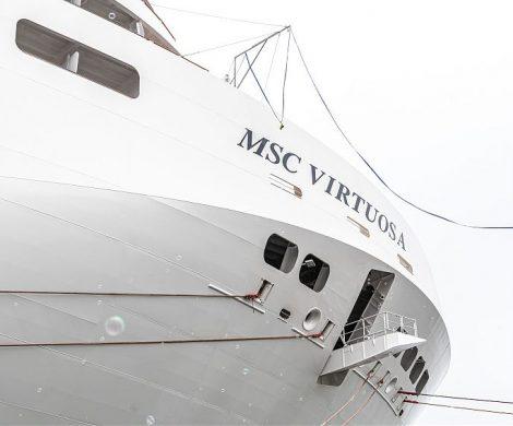 Die Kreuzfahrtreederei MSC Cruises hat ihr neues Flaggschiff MSC Virtuosa von der französischen Werft Chantiers de l'Atlantique übernommen.