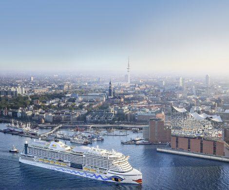 Die AIDAprima führt die Schiffsparade bei den Hamburg Cruise Days an