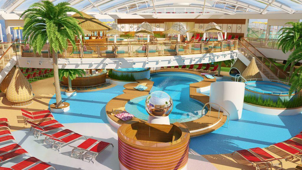 """Im """"Beach Club"""" der AIDAnova sollen wie schon auf den Schwesterschiffen """"AIDAprima"""" und """"AIDAperla"""" konstant frühlingshafte Temperaturen herrschen."""