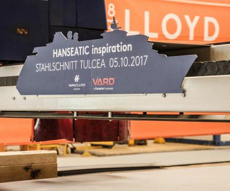 Der Festakt mit Stahlschnitt fand auf der Werft in Rumänien statt
