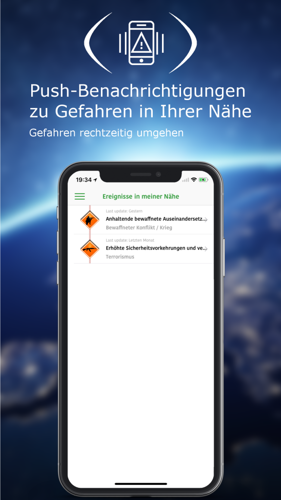 Mit seiner Global Monitoring App verfügt das auf Krisenmonitoring spezialisierte Unternehmen A3M aus Tübingen über ein effektives Frühwarn- und Informationssystem.Durch das Frühwarnsystem können sich Reisende über politische Unruhen, Terrorismus, Streiks, Hurrikans, Tsunamis oder Erdbeben auf dem Laufenden halten.