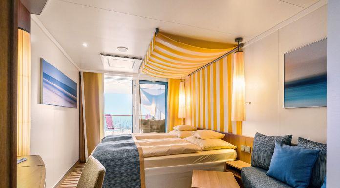 AIDA hat spezielle Kabinen für Familien auf den Schiffen AIDAperla und AIDAprima: die neuen Verandakabinen Deluxe mit Lounge für bis zu fünf Personen
