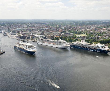 """Mit einem Anlauf der """"AIDAbella"""" findet heute die Kreuzfahrtsaison 2018 in Kiel ihren Abschluss. 166 Anläufe von 33 verschiedenen Schiffen"""