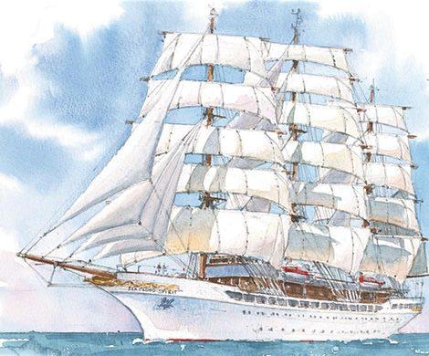 Das geplante Segelschiff Hussar von Sea Cloud Cruises lag jahrelang auf Eis. Jetzt kommt es doch: unter dem Namen Sea Cloud Spirit