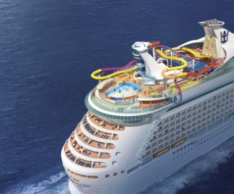 """Die US-amerikanische Reederei Royal Caribbean baut die längste Wasserrutsche auf einem Kreuzfahrtschiff, sie soll """"The Blaster"""" heißen, ist 243 Meter lang."""