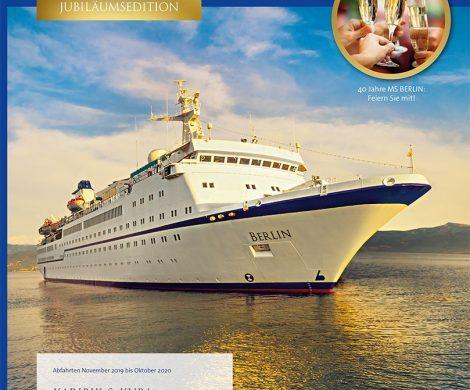 Das Jahr 2020 ist für die MS Berlin ein Jubiläumsjahr: Das Schiff feiert 40. Geburtstag. Der neue Katalog 2020 bietet 25 Routen und zehn Erstanläufe.