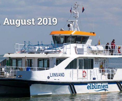 Die Elblinien nehmen einen fahrplanmäßigen Betrieb drei Mal täglich zwischen Stade und Hamburg mit dem Hybrid-Katamaran Liinsand als Elbfähre auf.