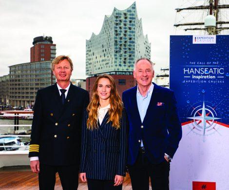 Die HANSEATIC inspiration, das zweite von drei neuen Expeditionsschiffen von Hapag-Lloyd Cruises, ist im Hamburger Hafen von Laura Dekker getauft worden.
