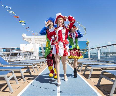 Mit dem Jeckliner 2 verlängert TUI Cruises den Karneval für alle Fansan Bord der Mein Schiff 4 vom 20. bis 24. April 2020 ab/bis Palma de Mallorca
