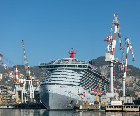 Die Scarlet Lady, erstes von vier Schiffen, die Virgin Voyages bei Fincantieri bestellt hat, ist auf der Werft in Genua Sestri Ponente vorgestellt worden.