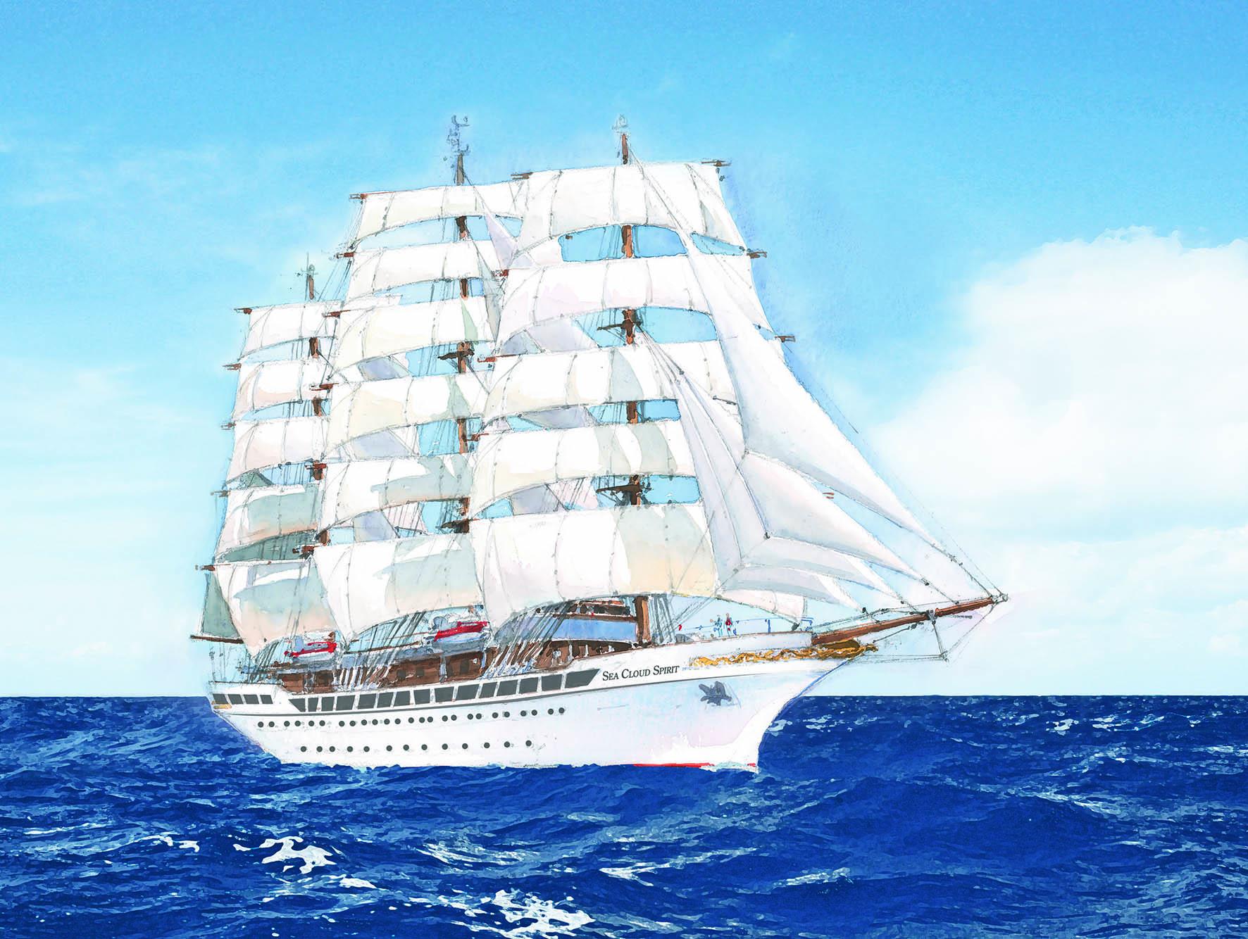 Die Sea Cloud Spirit der Reederei Sea Cloud Cruises wird am 22. April 2021 erstmals von Palma de Mallorca aus in See stechen.
