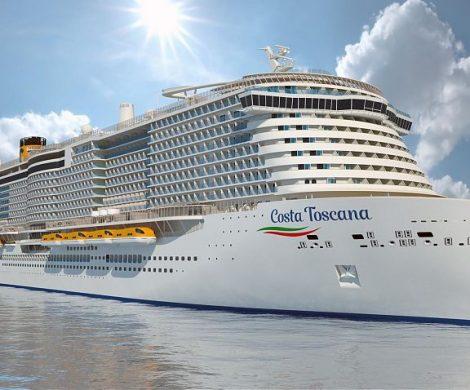 Costa Crociere feiert das Aufschwimmen des neuen Flaggschiffs Costa Toscana, das am 26. Dezember in Dienst geht, auf der Meyer Werft in Turku