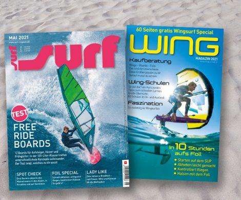 Das aktuelle Magazin SURF aus dem Delius Klasing-Velag liefert in einem 60-seitigen Wingsurf-Special viele Informationen und nützliche Tipps.