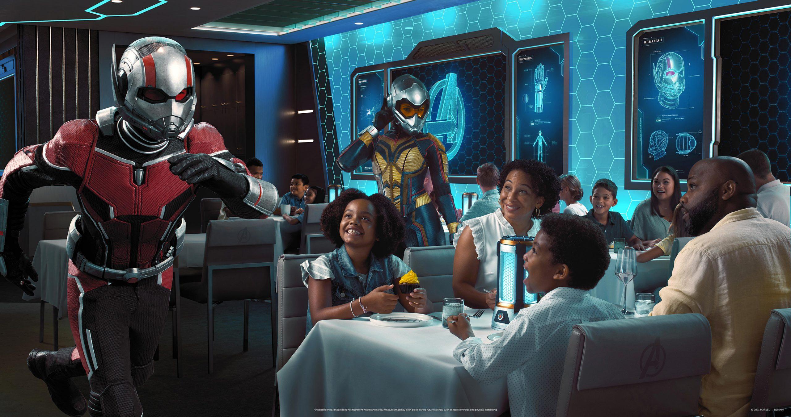 """Mit der Premiere von """"Avengers: Quantum Encounter"""" im Worlds of Marvel Restaurant an Bord der Disney Wish, die im Sommer 2022 zu ihrer Jungfernfahrt aufbricht, schafft Dinsey Cruise Line ein völlig neues Restauranterlebnis"""